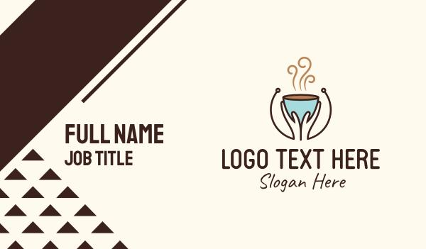 mocha - Brewed Coffee Hands Business card horizontal design