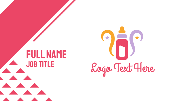 pedia - Colorful Feeding Bottle Business card horizontal design