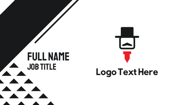 red man - Hat & Tie Business card horizontal design