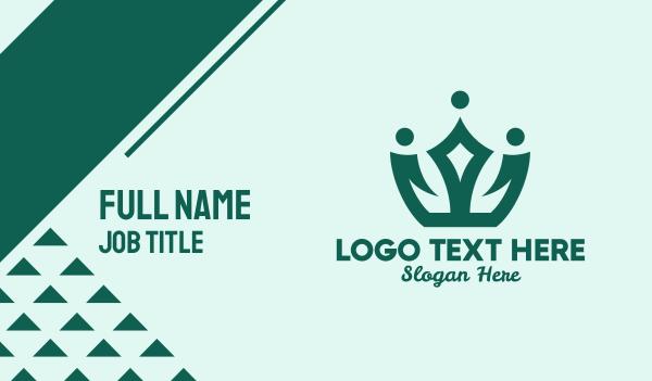 fashion accessories - Green Simple Tiara  Business card horizontal design