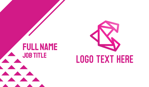 wireframe - Pink Polygon C Business card horizontal design