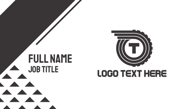 tire - Automotive Letter T Business card horizontal design