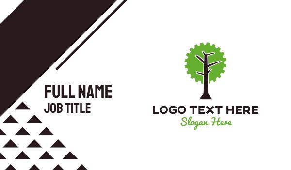 green cog - Industrial Mechanical Tree Business card horizontal design