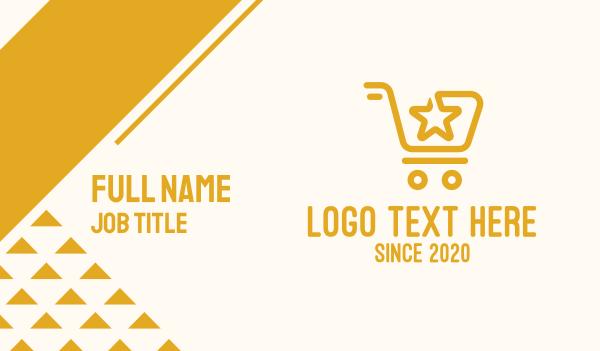 mart - Yellow Star Shopping Cart Business card horizontal design