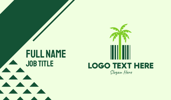 barcode - Green Coconut Barcode Business card horizontal design