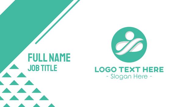 green circle - Yoga Instructor  Business card horizontal design