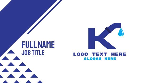 pipeline - Plumbing Water Pipe Letter K Business card horizontal design
