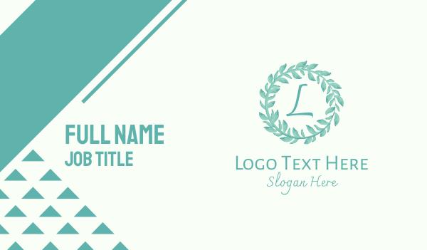laurel - Blue Watercolor Wreath Lettermark Business card horizontal design
