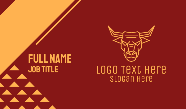 feng shui - Golden Angry Ox  Business card horizontal design