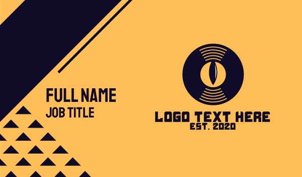 record - DJ Vinyl Eye Business card horizontal design
