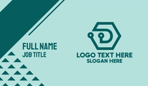 digital circuit - Blue Digital Hexagon Business card horizontal design