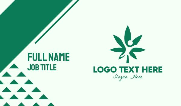 eliquid - Green Cannabis Person Business card horizontal design