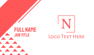 Classic Serif Letter N Business Card