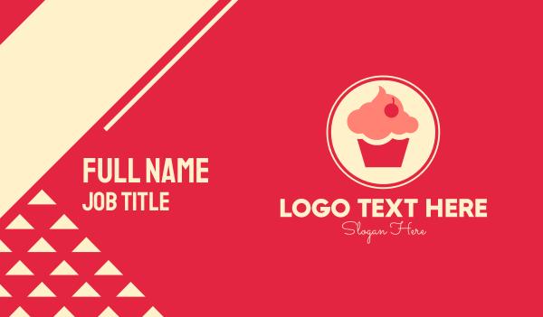 muffin - Sweet Cherry Cupcake Business card horizontal design