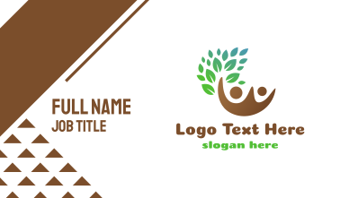 Brown Couple Leaf Business Card