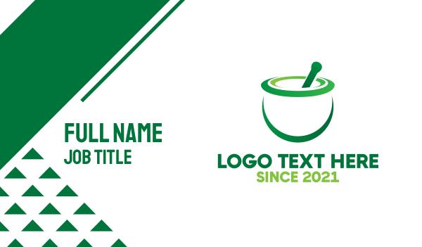 ingredients - Green Mortar & Pestle Business card horizontal design