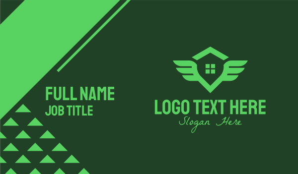 leasing - Winged Green House Business card horizontal design