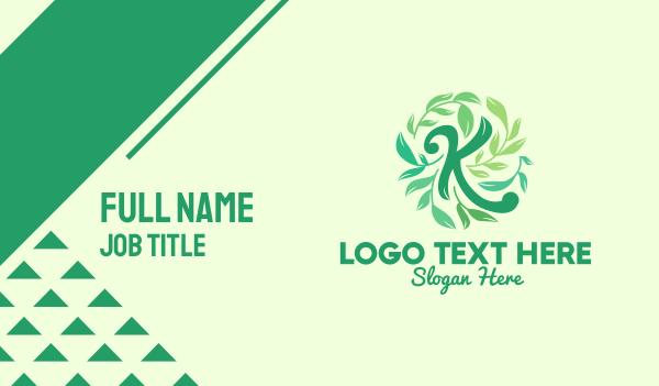 plants - Green Leaves Letter K Business card horizontal design