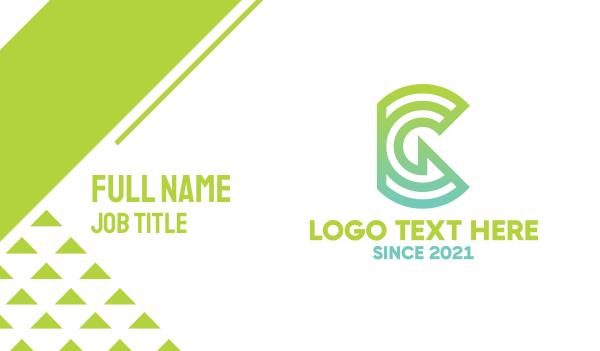 hybrid - Green Tech G Outline Business card horizontal design