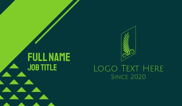 laurel - Green Classical Palm Leaves Business card horizontal design