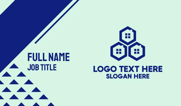beehive - Blue Hexagon Windows Business card horizontal design
