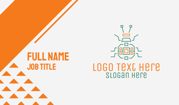 robotic - Robotic Beetle Insect  Business card horizontal design
