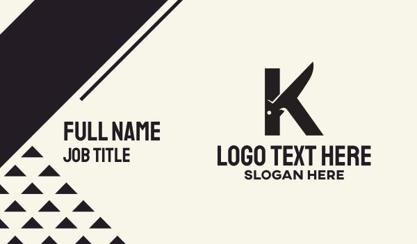 culinary - Black Knife Letter K Business card horizontal design