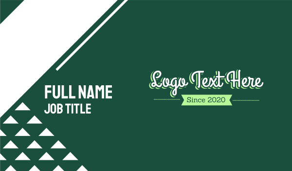 script - Green Magical Text Business card horizontal design