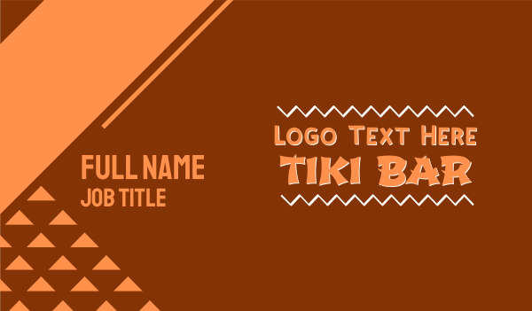brown and white - Tiki Bar Business card horizontal design