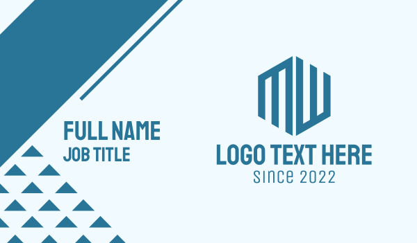 wm - Blue Company MW Business card horizontal design
