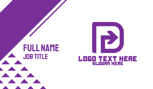 purple and white - Purple Letter D Arrow Business card horizontal design