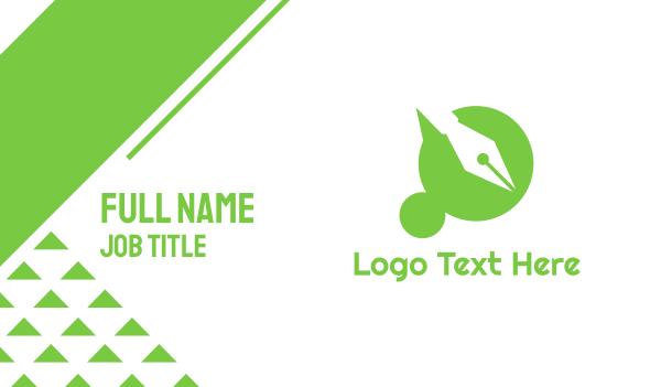 mms - Green Dot pen Business card horizontal design