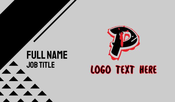 bullet hole - Splatter Graffiti Letter P Business card horizontal design
