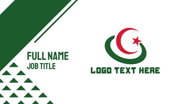 air travel - Modern Algeria Flag Business card horizontal design