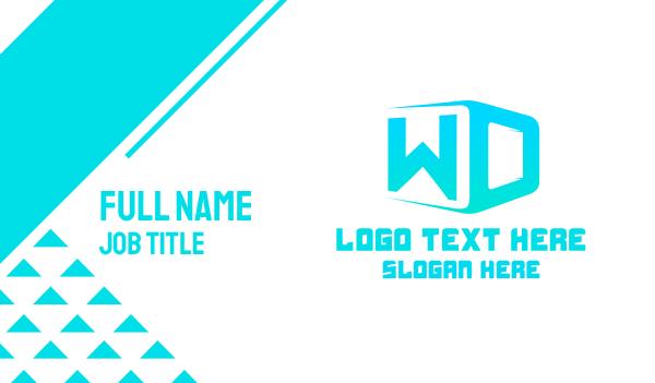 blue box - W & D Business card horizontal design