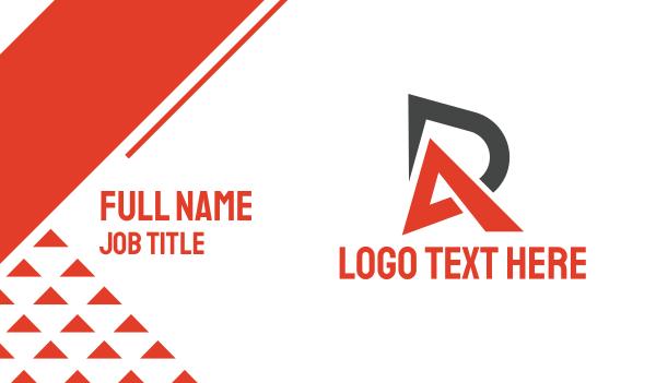 initials - Black Red DA Business card horizontal design