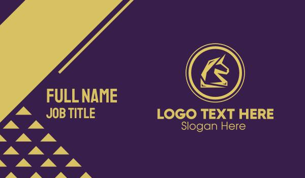 mule - Elegant Golden Unicorn Business card horizontal design
