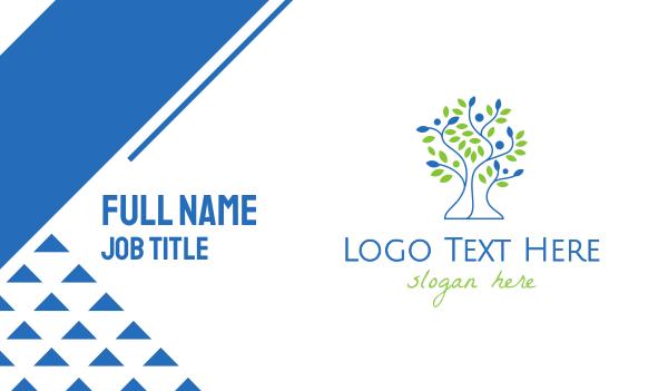 vines - Green Blue Tree Business card horizontal design