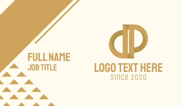 premium - Elegant Bronze Letter P Business card horizontal design