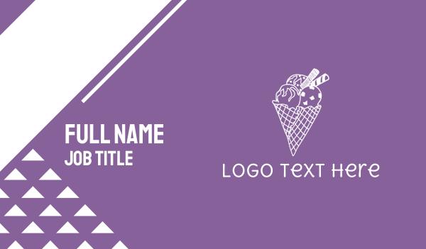 ice cream - Ice Cream Cone Business card horizontal design