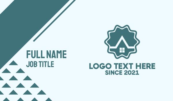 work from home - Blue House Emblem Business card horizontal design