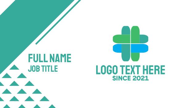 drugmaker - Blue & Green Medical Cross Business card horizontal design