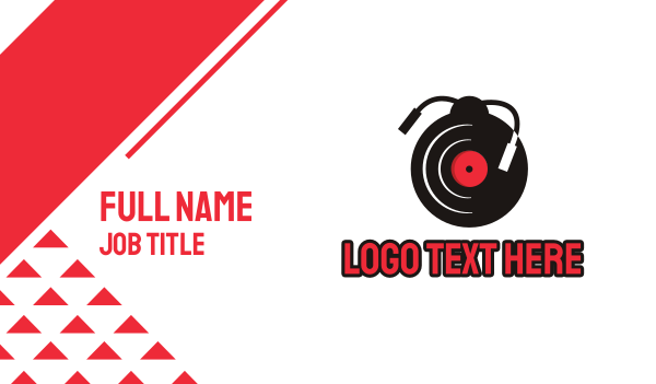 record - Vinyl Ladybug Business card horizontal design