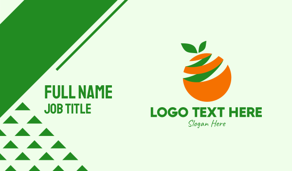 orchard - Fresh Orange Fruit Peel Business card horizontal design