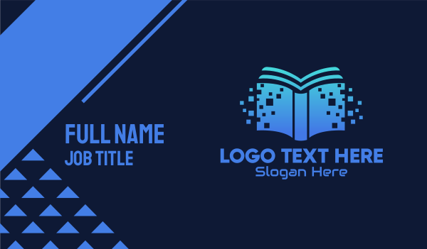online classes - Online Digital Library Book Business card horizontal design
