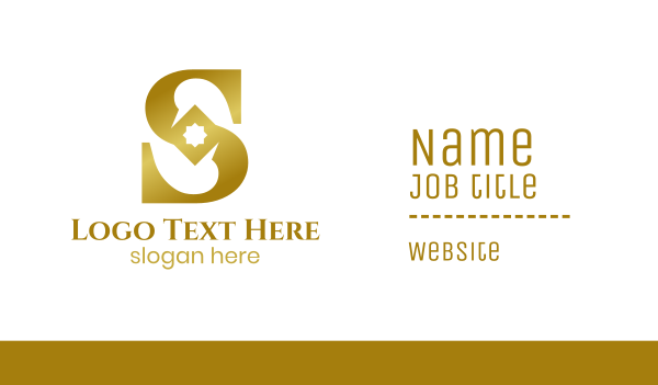 gold diamond - Gradient Gold S Business card horizontal design