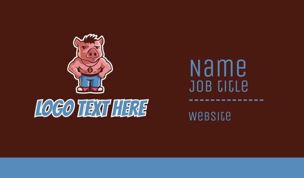 hog - Muscle Pig Hog Business card horizontal design