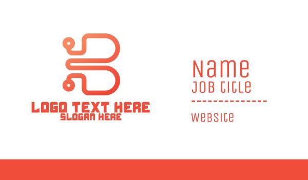 high technology - Digital Lettermark B Business card horizontal design