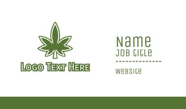 Green Marijuana Outline Business Card