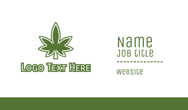 eliquid - Green Marijuana Outline Business card horizontal design